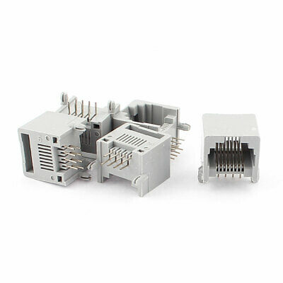 5Pcs Gray RJ45 8P8C Jack Modules PCB Mount Network Internet Connectors