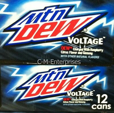 Mountain Dew Voltage Raspberry Citrus Ginseng Soda 12 Pack Mtn Dew