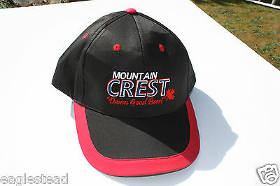Ball Cap Hat - Mountain Crest Beer - Minhas Brewery Calgary - Black Red (H1371)
