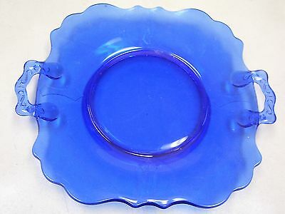Mt Pleasant Smith Depression Glass Cobalt Blue Handled Cake Plate Antique