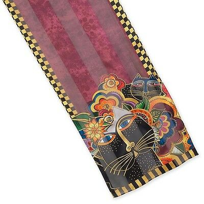 LAUREL BURCH 100% Pure Silk SCARF Wrap Throw CARLOTTAS CATS Flower Floral Black