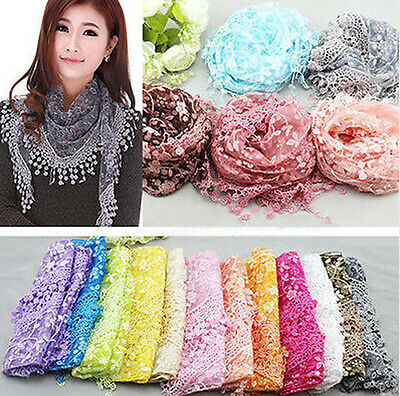 Fashion Women Lace Hollow Flowers Sheer Long Scarf Wrap Shawl Scarves