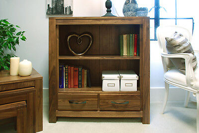 Baumhaus Low Open 2 Drawer Bookcase - Mayan Walnut Collection
