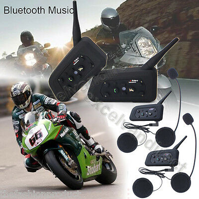 2PCS V6-1200 Interfono Moto BT Intercomunicador Interphone Bluetooth Auriculares