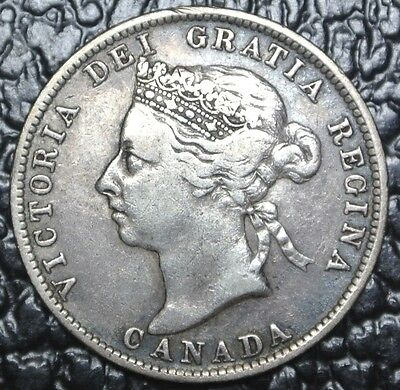 1891 CANADA-25 CENTS -.925 SILVER -Victoria -Beautiful Coin-KEY DATE -HIGH GRADE