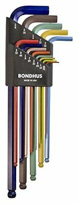 Bondhus 69637 Ball End L-Wrench Set with ColorGuard Finish w/Extra Long Arm, 13p