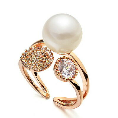 18k Rose Gold Filled Cute White Pearl Party Ring Made With Swarovski Crystal R44