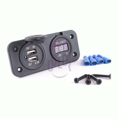 Car Motor 12V 3.1A 2 USB Adapter Charger with Digital Voltmeter Volt Meter