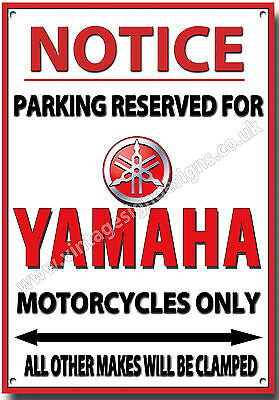 Yamaha,notice Parking Reserved For Yamaha Motorcycles Only Metal Sign.