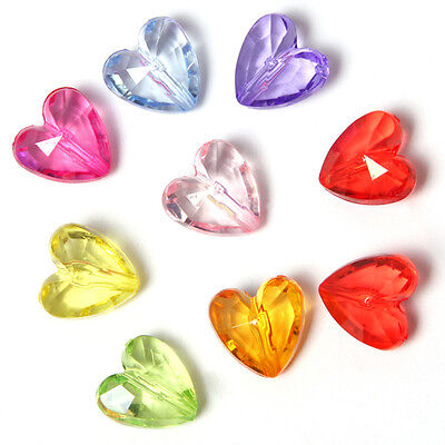 100pcs Mixed Colors Plastic Faceted Heart Charms Spacer Beads Fit Jewelry DIY LC