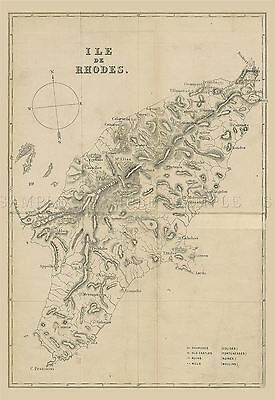 Map Repro Antique French Issue Rhodes Island Greece Large Art Print Lf892