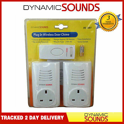 Dynamic Twin PlugIn Wireless Cordless DoorBell Chime with Socket 80M Range White