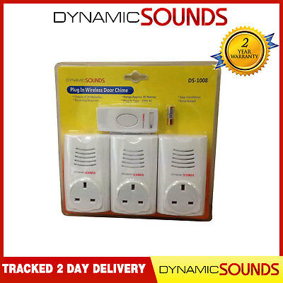 Dynamic Triple Plug in Wireless Door Bell Chime Mains Socket UP TO 80M Range