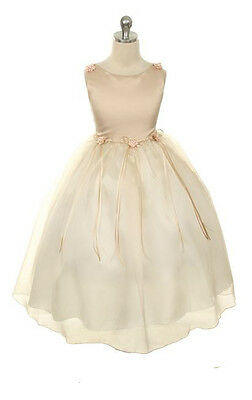 New Champagne Flower Girl Dress Pageant Wedding Birthday Party Bridesmaid Baby