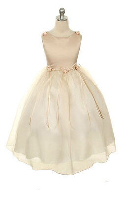 New Champagne Flower Girls Dress Pageant Wedding Birthday Party Bridesmaid Baby