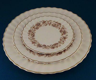 ROYAL DOULTON MAYFAIR BROWN H4905A 3 Piece Place Setting Dinner,Salad,Bread