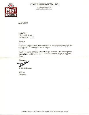 Dave Thomas (D. 2002) Signed Letter Founder Of Wendy's W/coa