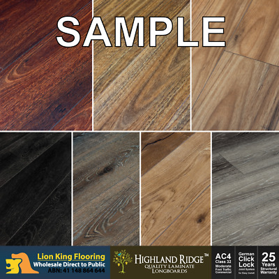 CLICK LOCK Floating Timber Laminate Flooring Long Board Samples  - 4 Colors