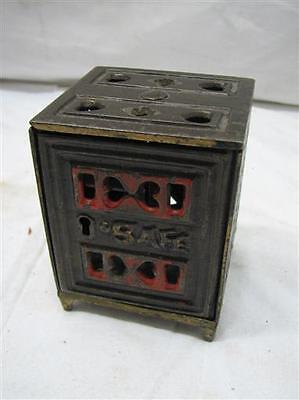 Antique Cast Iron Toy Safe Still Dime Bank Ornate Victorian Toy