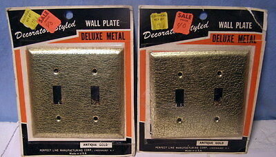 ** Lot TWO (2) - VINTAGE ** PERFECT LINE * Antique GOLD - OUTLET switch Covers