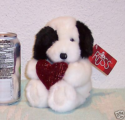 "NEW with tags RUSS Stuffed HEART HUGGERS Plush 9"" BLACK WHITE Dog"