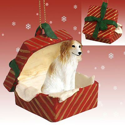 BORZOI Russian Wolfhound Dog RED Gift Box Holiday Christmas ORNAMENT