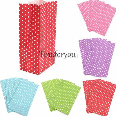 """5/10X Xmas Candy Dots Paper Bags Wedding Birthday Party Favor Treat Gift 7""""x3.5"""""""
