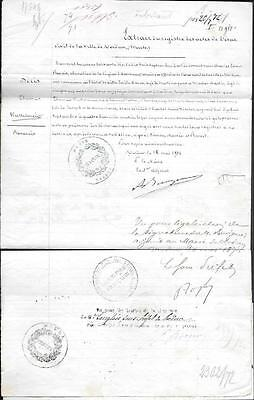 France State Document Letter 1871. Ministry of Foreign Affairs seals Meuse