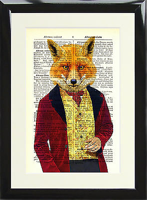 Art Print Antique Dictionary Page Vintage Victorian Fox Gentleman Wall Picture