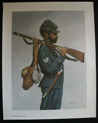 THOMPSON Serigraph Oil Painting Canvas CIVIL WAR BLACK SOLDIER 1635