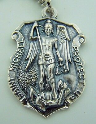 """Mens St Michael 1"""" Italian Hand Crafted Silver Shield Protection Pendant Medal"""