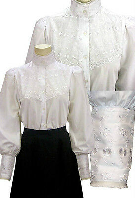 FRONTIER CLASSICS Victorian Embroidered Lace Overlay Laura Blouse Steampunk