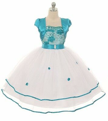 New Flower Girl Teal Dress Wedding Pageant Formal Party Birthday Bridesmaid