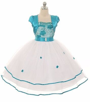 New Flower Girls Teal Dress Wedding Pageant Formal Party Birthday Bridesmaid