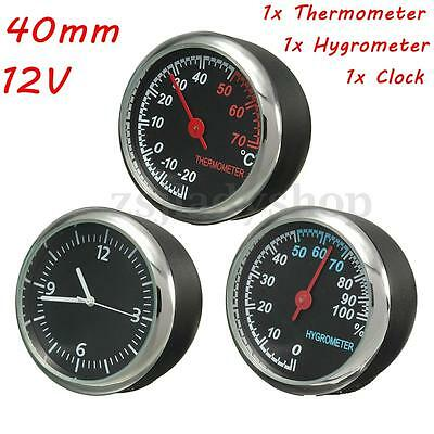12V 40mm Car Auto 3 Mechanics Gauge Thermometer + Hygrometer + Time Quartz Clock