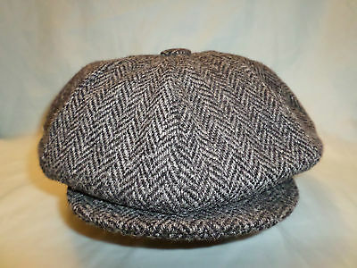 Grey 8 Panel Harris Tweed 100% Wool Newsboy Victorian Peaky Blinders Cap