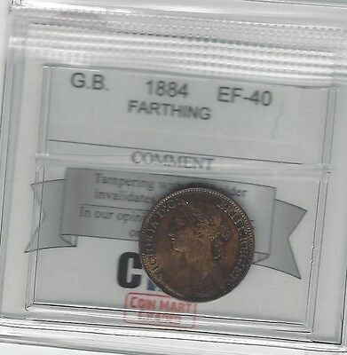 **1884**Great Britain, Farthing,  Coin Mart Graded**EF-40**