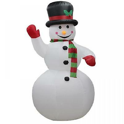 2.4M Snowman With Scarf Red Gloves Hat Self Inflating Electric Christmas Figure