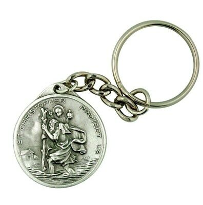 """Saint Christopher with St Anthony Back 1 1/2"""" Medal Travel Protection Keychain"""
