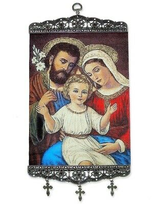 """Holy Family Tapestry Icon Saint Joseph Mary Jesus Child NEW With Crosses 17"""""""