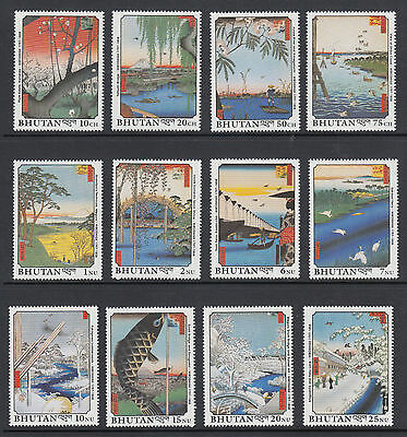 Bhutan Sc 846-869 MNH. 1990 Paintings, cplt set, 12 stamps & 12 souv sheets, VF