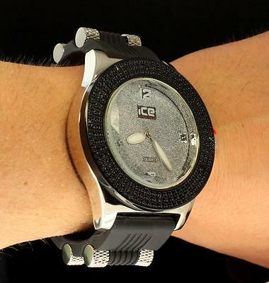 2-Tone Black/Silver Finish Hip Hop Cubic Zir Silicone Band Mens Jino Bling Watch