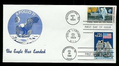 C76 + 2419 Dual FDC 1st Cassidy-Richlar Apollo 11 + $2.40 Priority Moon Landing