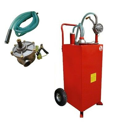 New Pro 30 Gallon Gas Fuel Diesel Caddy Transfer Tank Container w/ Rotary Pump