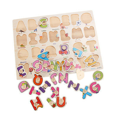 Preschool Wooden Learning Puzzle Toys Baby Kids Educational Alphabet A-Z Letters