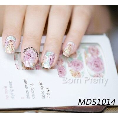 14Pcs/Sheet Floral Pink Roses Wraps Nail Art Decals Manicure Transfer Stickers