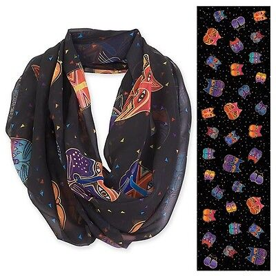 New LAUREL BURCH SCARF Loop Wrap Throw FELINE FACES Black Kitten Orange Purple
