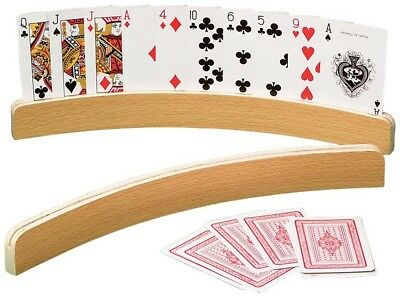 2pc Playing Card Holder Curved Wood Poker UNO Gin Rummy Pinochle Arthritis NEW