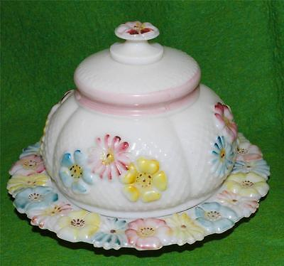 Antique Consolidated Glass Cosmos Pattern Covered Butter Dish 1894-1915