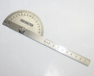 Measure Stainless Steel Rotary Protractor Angle Rule Gauge Machinist Tool